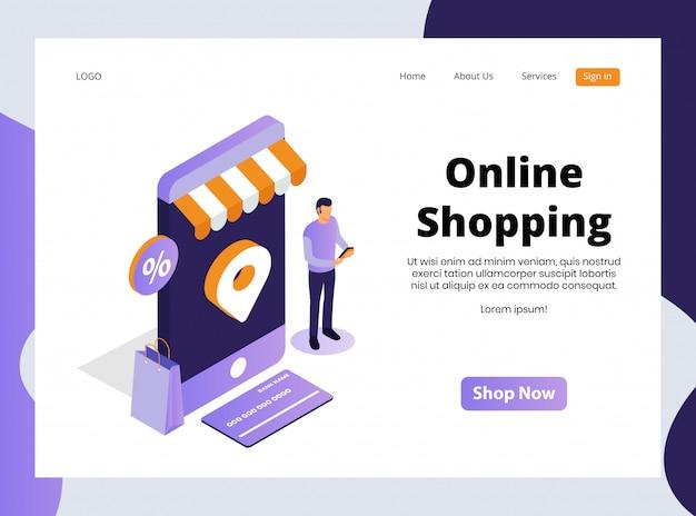 Szablon Sieci Web Izometryczny Zakupy Online Premium Wektorów
