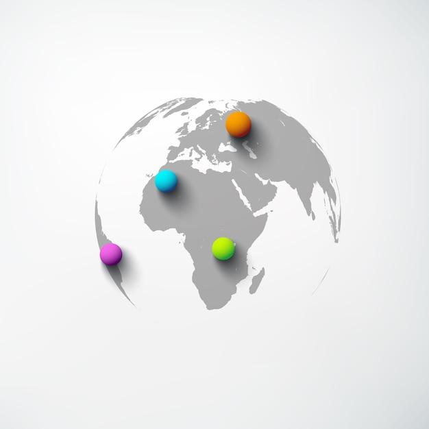 Szablon Sieci Web Streszczenie świata Z Kulą Ziemską I Kolorowe Szpilki Okrągłe Na Białym Tle Darmowych Wektorów