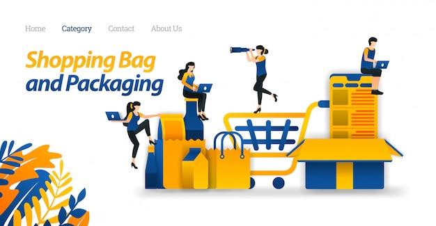 Szablon sieci web strony docelowej do koszyka na zakupy towarów w sklepach internetowych i różnych modelach opakowań. Premium Wektorów