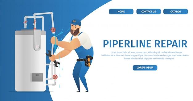Szablon sieci web strony docelowej z ilustracją concept page hydraulik service Premium Wektorów