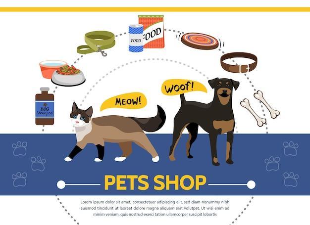 Szablon Sklepu Zoologicznego Z Zaopatrzeniem Dla Kotów I Psów Darmowych Wektorów