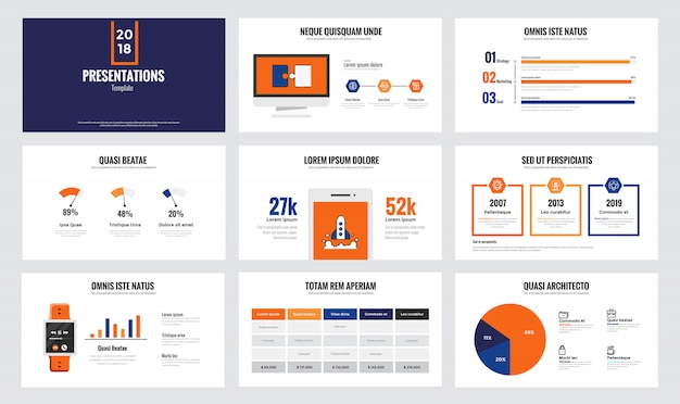 Szablon Slajdu Infografiki Premium Wektorów
