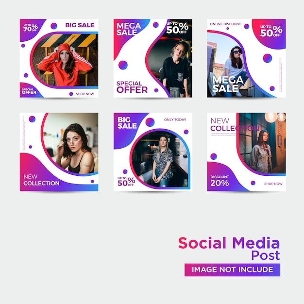 Szablon social media moda Premium Wektorów