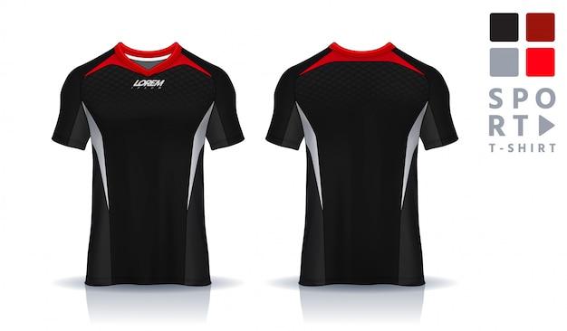 Szablon sportowy t-shirt, jednolity widok z przodu iz tyłu. Premium Wektorów