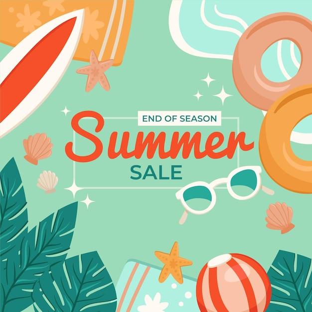 Szablon Sprzedaży Letniej Na Koniec Sezonu Darmowych Wektorów