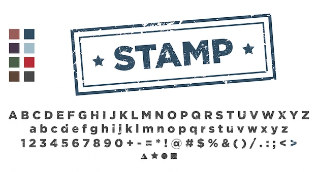 Szablon Stempla. Stemplowanie Czcionek Alfabetu. Premium Wektorów