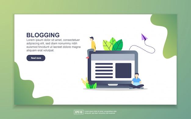 Szablon strony docelowej blogowania. nowoczesna koncepcja płaskiego projektowania stron internetowych dla stron internetowych i mobilnych. Premium Wektorów