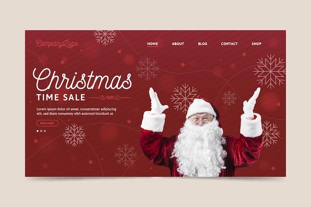 Szablon Strony Docelowej Boże Narodzenie Z Mikołajem Darmowych Wektorów