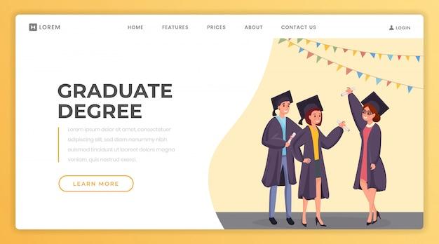 Szablon strony docelowej dla absolwentów. Premium Wektorów