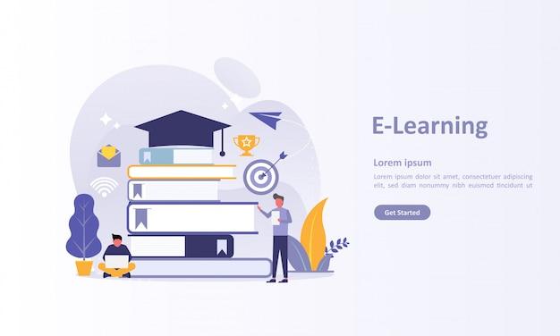 Szablon strony docelowej edukacji online Premium Wektorów