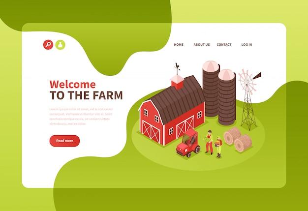Szablon Strony Docelowej Farmy Izometryczny Darmowych Wektorów