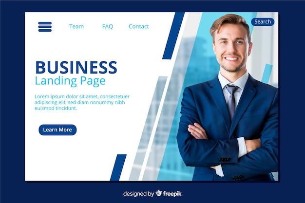 Szablon strony docelowej firmy ze zdjęciem Darmowych Wektorów