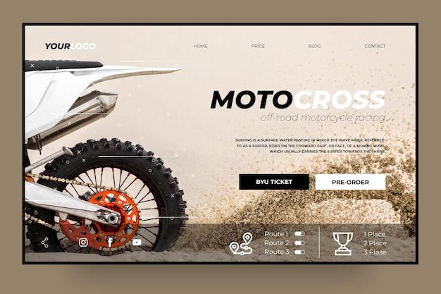 Szablon Strony Docelowej Klubu Motocross Darmowych Wektorów