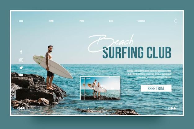 Szablon Strony Docelowej Klubu Surfingowego Darmowych Wektorów