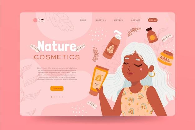 Szablon Strony Docelowej Kosmetyków Natury Z Ilustracją Kobiety Darmowych Wektorów