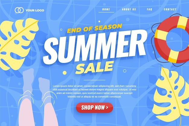Szablon Strony Docelowej Letniej Sprzedaży Na Koniec Sezonu Darmowych Wektorów