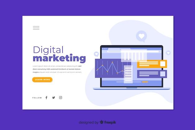 Szablon Strony Docelowej Marketingu Cyfrowego Premium Wektorów