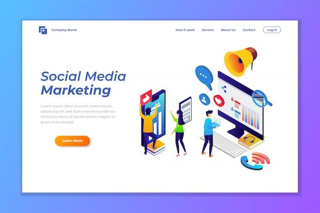 Szablon Strony Docelowej Marketingu W Mediach Społecznościowych Premium Wektorów
