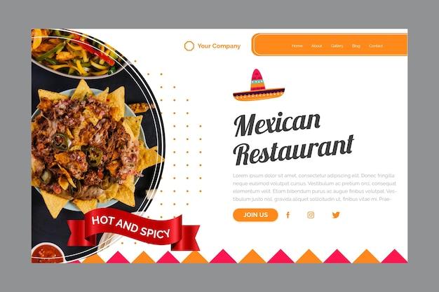 Szablon Strony Docelowej Meksykańskiej Restauracji Darmowych Wektorów