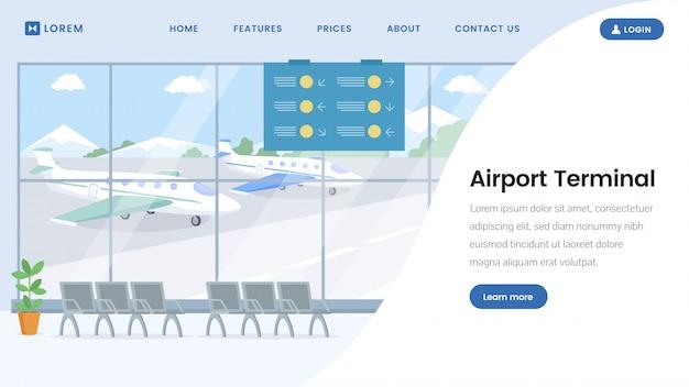 Szablon strony docelowej na lotnisku Premium Wektorów