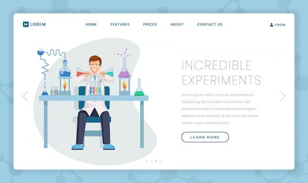 Szablon strony docelowej niesamowitych eksperymentów Premium Wektorów