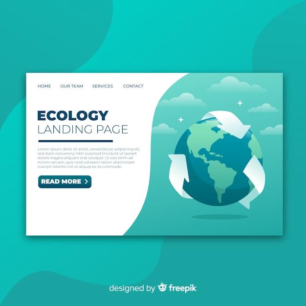 Szablon strony docelowej płaski ekologia Darmowych Wektorów