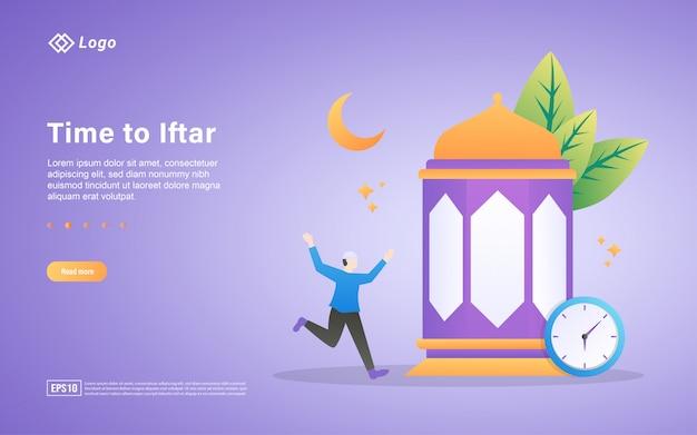 Szablon Strony Docelowej Płaski Ramadan Kareem Premium Wektorów