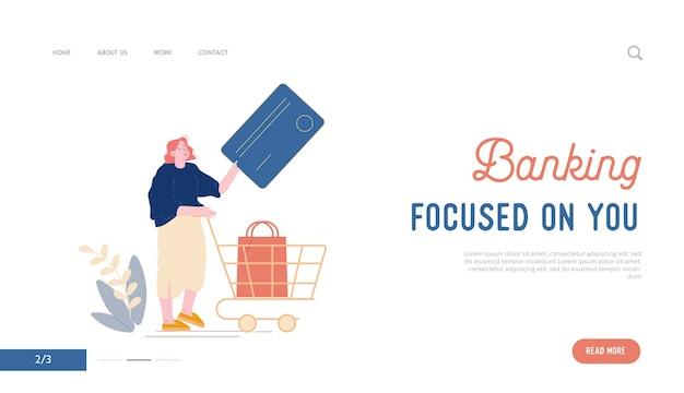 Szablon Strony Docelowej Płatności Bezkontaktowych. Kobieta-klientka Stoi W Supermarkecie I Przygotowuje Kartę Kredytową Do Bezgotówkowych Płatności Online I Wózka Z Towarem W Sklepie Kreskówka Premium Wektorów