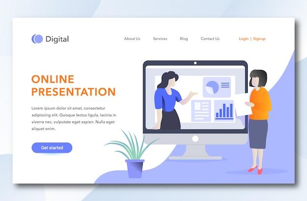 Szablon strony docelowej prezentacji online Premium Wektorów
