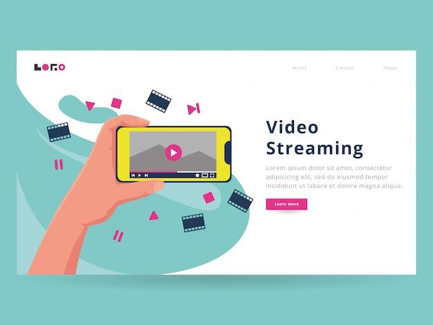 Szablon strony docelowej przesyłania strumieniowego wideo Premium Wektorów