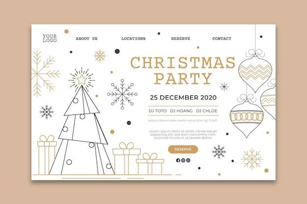 Szablon Strony Docelowej Przyjęcia Bożonarodzeniowego Darmowych Wektorów