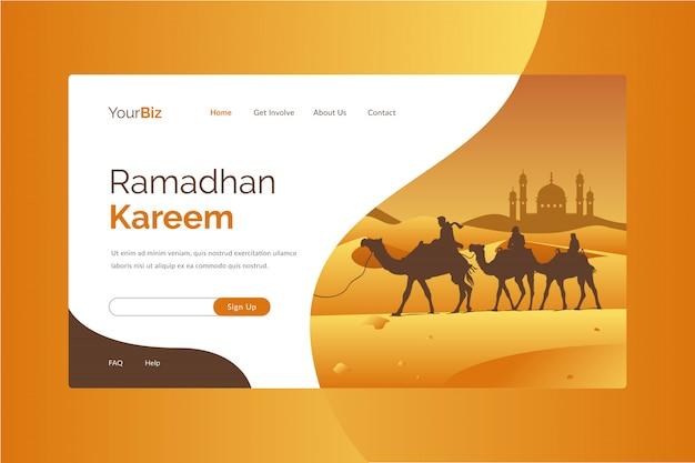 Szablon Strony Docelowej Ramadhan Kareem Premium Wektorów