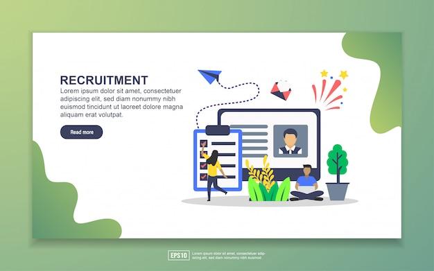 Szablon strony docelowej rekrutacji. nowoczesna koncepcja płaskiego projektowania stron internetowych dla stron internetowych i mobilnych Premium Wektorów