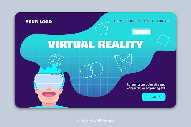 Szablon strony docelowej rzeczywistości wirtualnej Darmowych Wektorów