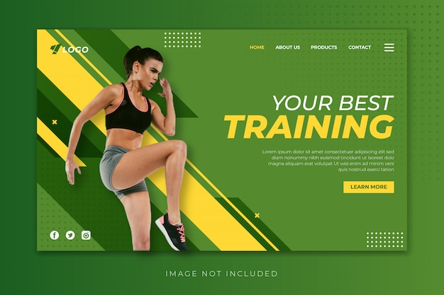 Szablon Strony Docelowej Sport Fitness Premium Wektorów