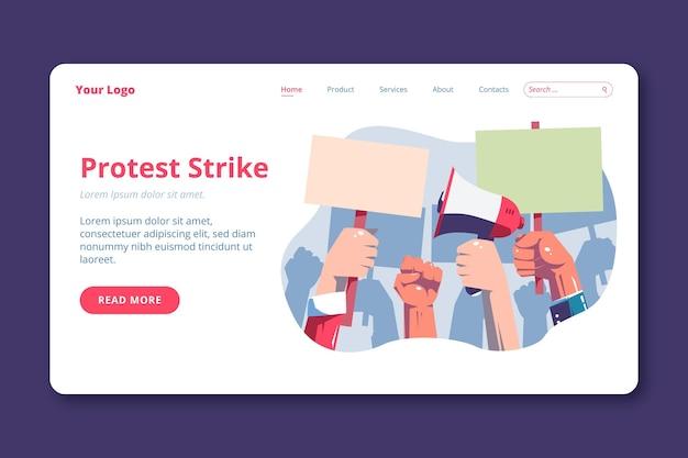 Szablon Strony Docelowej Strajku Protestacyjnego Darmowych Wektorów