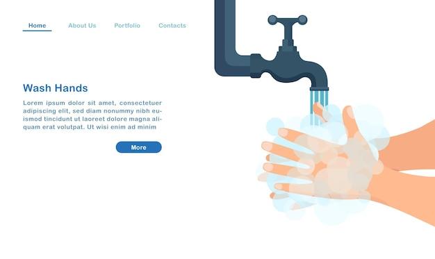 Szablon Strony Docelowej Strony Internetowej Kreskówka Myje Ręce Bańkami Mydlanymi Antybakteryjnym Covid - Koncepcja Pandemii Premium Wektorów