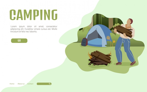 Szablon Strony Docelowej Summer Camping Premium Wektorów