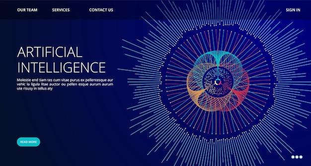 Szablon Strony Docelowej Sztucznej Inteligencji Premium Wektorów
