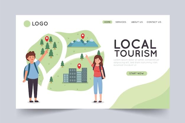Szablon Strony Docelowej Turystyki Lokalnej Premium Wektorów
