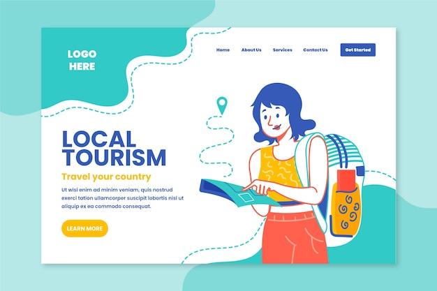Szablon Strony Docelowej Turystyki Lokalnej Darmowych Wektorów