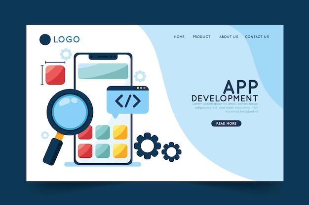 Szablon Strony Docelowej Tworzenia Aplikacji Premium Wektorów