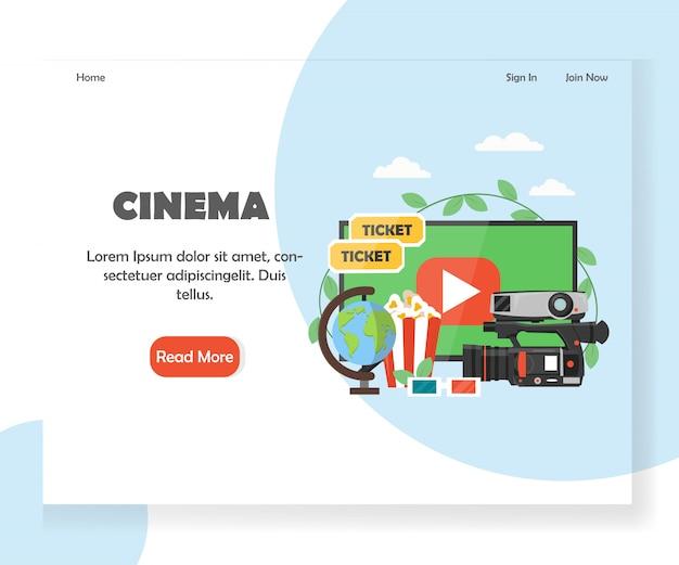 Szablon strony docelowej witryny kina Premium Wektorów