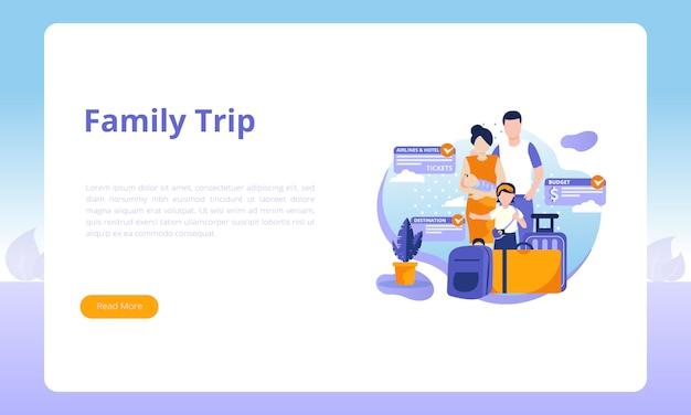 Szablon strony docelowej wycieczki rodzinnej Premium Wektorów