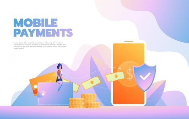 Szablon strony docelowej zakupów online. nowoczesna koncepcja projektowania stron internetowych dla strony internetowej i mobilnej. ilustracji wektorowych Premium Wektorów