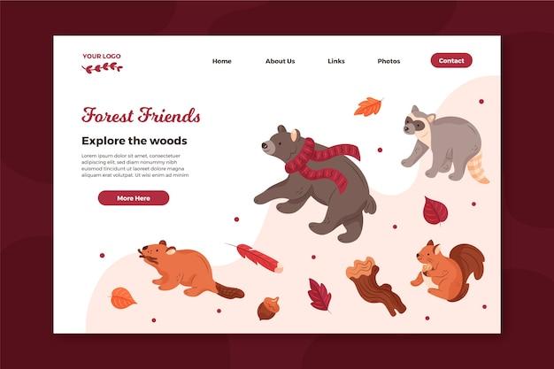 Szablon Strony Docelowej Ze Zwierzętami Leśnymi Premium Wektorów