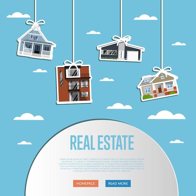 Szablon strony internetowej agencji nieruchomości Premium Wektorów