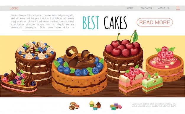 Szablon Strony Internetowej Kreskówka Smaczne Ciasta Z Czekoladą Krem Orzechy Jeżyna Malina Jagoda Darmowych Wektorów