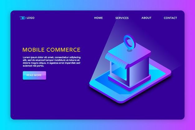 Szablon Strony Internetowej Mobile Commerce Premium Wektorów