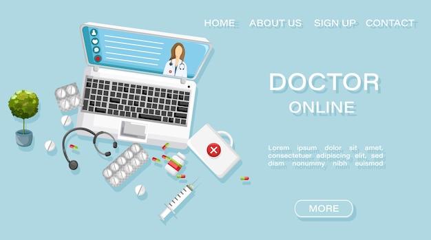 Szablon Strony Internetowej. Szablon Strony Internetowej Lekarza Leczenia Online Lekarz Premium Wektorów